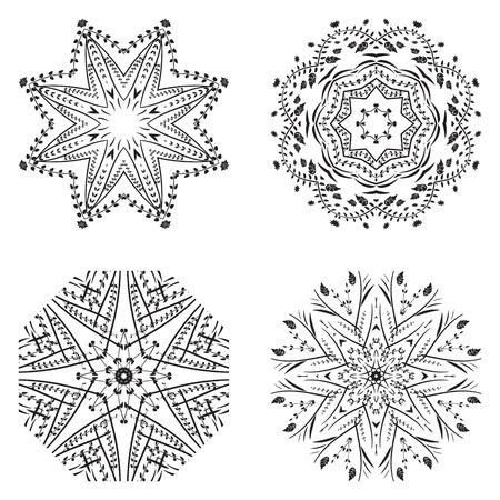 Geometric circular ornament set. Abstract black symbols. Lace mandalas. Vector illustration Illustration