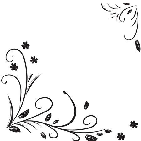 esquineros de flores: Fondo blanco y negro con elementos florales. Ilustraciones del vector.