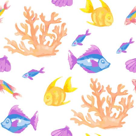 サンゴと熱帯魚のシームレスなパターン。ベクトル図