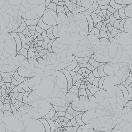 gossamer: Cobweb seamless pattern. Vector halloween background.
