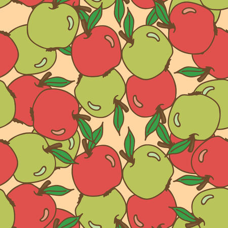 judaic: Seamless pattern with apples. Hand drawing vector illustration