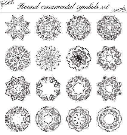 Geometric circular ornament set. Abstract black symbols. Lace mandalas. Vector illustration 向量圖像