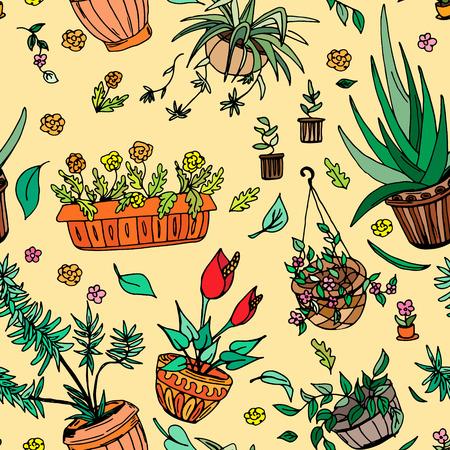 Pot plants seamless pattern, hand-drawn design elements, vector illustration Illustration