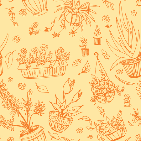 indoor bud: Pot plants seamless pattern, hand-drawn design elements, vector illustration,