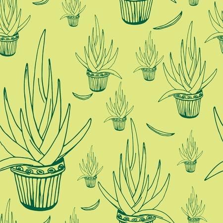 indoor bud: Aloe seamless pattern, vector illustration, hand-drawn design elements. Illustration