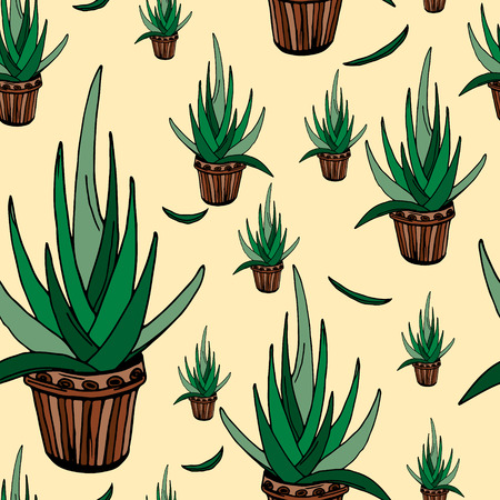 aloe vera plant: Aloe seamless pattern, hand-drawn.