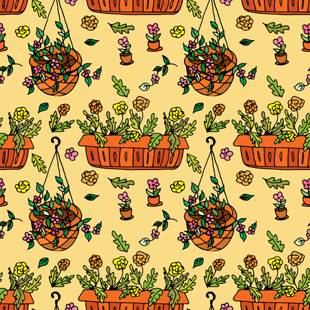 indoor bud: Pot plants seamless pattern, hand-drawn design elements, vector illustration Illustration