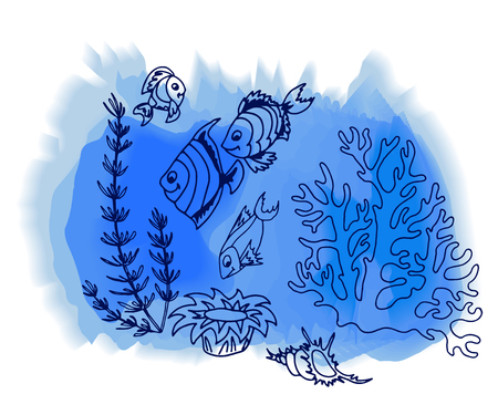 tropische fische: Tropical fish hand drawn background. Vector illustrations.