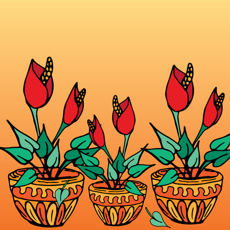 Pot plants with red flowers, hand-drawn  vector illustration Vectores