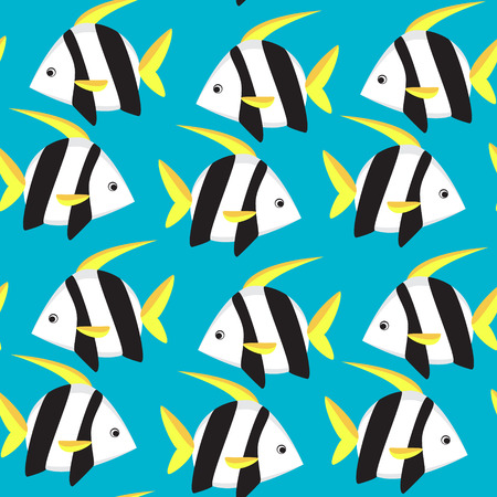 moorish idol: Seamless pattern with  tropical fish. Vector illustration.