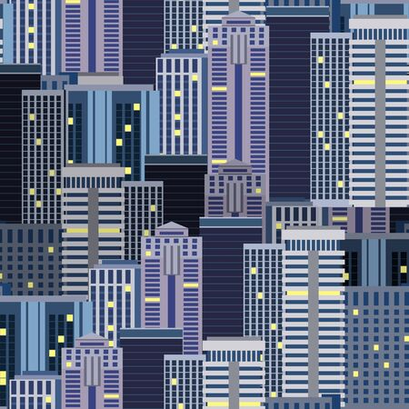 city background: City Skyscrapers Seamless Pattern Background. Vector illustration.