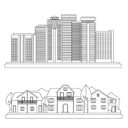 urban landscapes: Urban and village landscapes. Vector city illustration in linear style Illustration