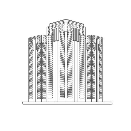 небоскребы: Небоскребы. Вектор город иллюстрации в линейном стиле Иллюстрация