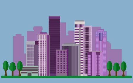megapolis: Color vector flat illustrations urban landscape. Vector illustration