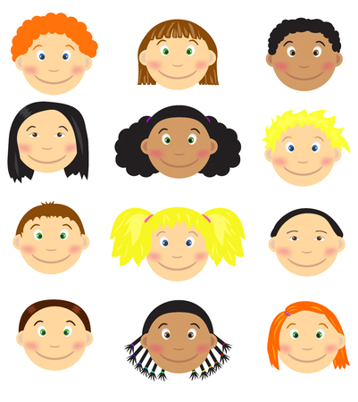 asian family: Set of cartoon childrens faces. Vector illustrations. Illustration