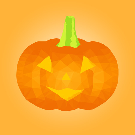 triangular eyes: Polygonal Halloween pumpkin.  Low poly style vector illustration