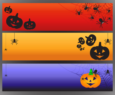 spiderweb: Three vector Halloween banners with spider and spiderweb. Vector illustration
