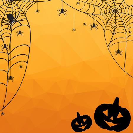 calabazas de halloween: Antecedentes de Halloween. Naranja de Halloween vector poligonal backgroun mosaico con tela de ara�a, ara�as y calabazas Vectores