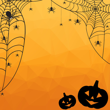 spider: Halloween Background. Vector Halloween orange polygonal mosaic  backgroun with spiderweb, spiders and pumpkins