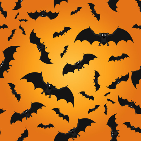 Bat seamless pattern Halloween background. Vector illustration