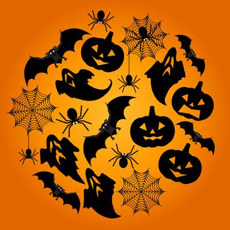 spiderweb: Halloween Background. Vector Halloween orange  backgroun with spiderweb, spiders, bat, ghosts and pumpkins