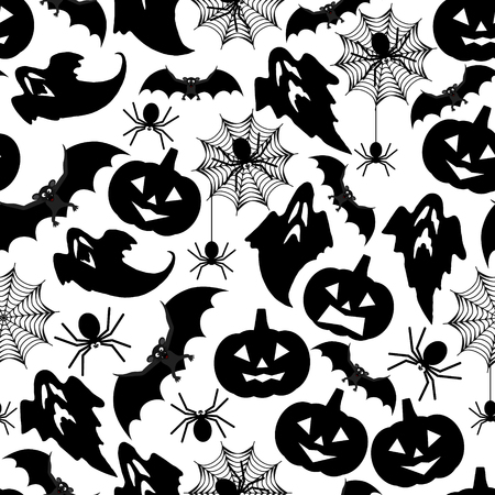 spider's web: Halloween seamless pattern background with bats, pumpkins, spiders, web and ghosts. Vector illustration. Illustration