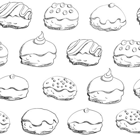 Holiday Hanukkah vector background. Seamless pattern with sufganiyah  (sufganiyah is a donut for the jewish holiday Hanukkah)