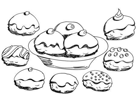 hanuka: Hanukkah donuts set. Various donuts for Jewish holiday Hanukkah. Hand drawn elements for design. Vector illustration