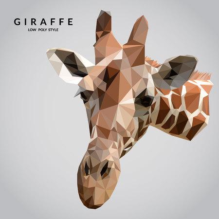 animal head giraffe: Giraffe low poly style. Polygonal mosaic vector illustration.