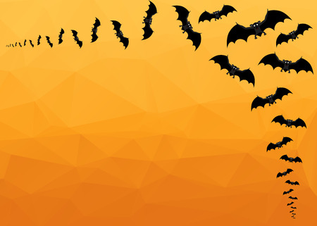 halloween background: Halloween Background. Vector Halloween orange polygonal mosaic  background with  bats Illustration