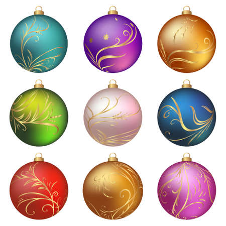 blue ball: Colorful christmas balls collection on a white background . Vector illustration. Illustration
