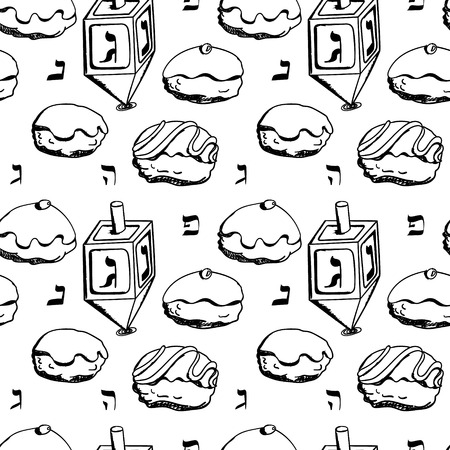 chanuka: Holiday Hanukkah vector background. Seamless pattern with dreidel and various donuts for jewish holiday Hanukkah. Hand drawn vector illustration