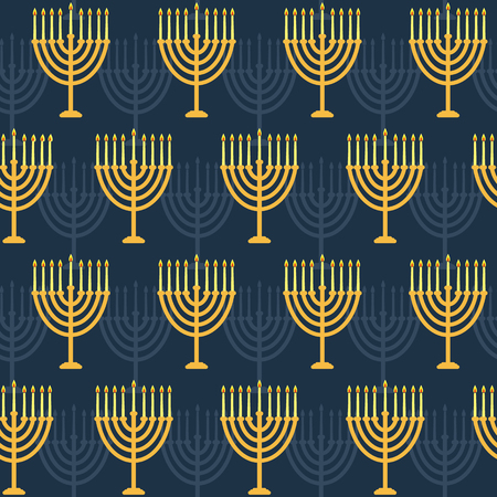 Hanukkah seamless pattern. Background with Hanukkah menorah candles . Vector illustration for jewish holiday Hanukkah