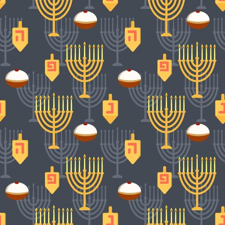 Hanukkah seamless pattern. Seamless pattern with menorah, dreibel and donuts for jewish holiday Hanukkah. Vector illustration