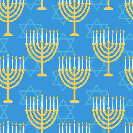 menora: Hanukkah seamless pattern. Background with Hanukkah candles . Vector illustration for jewish holiday Hanukkah