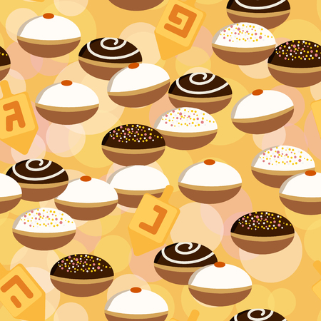 dreidel: Holiday Hanukkah vector background. Seamless pattern with dreidel and various donuts for jewish holiday Hanukkah. Vector illustration