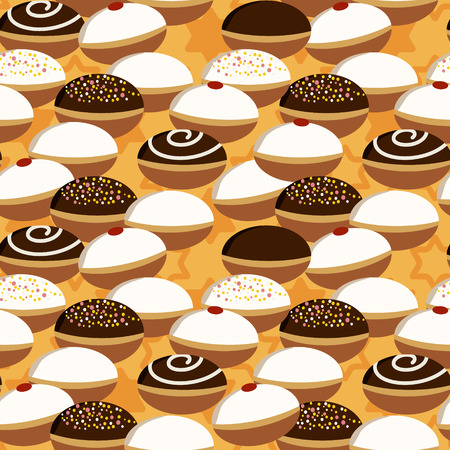 holiday background: Holiday Hanukkah vector background. Seamless pattern with various donuts for jewish holiday Hanukkah. Vector illustration