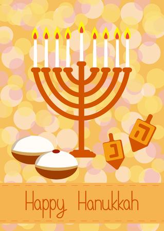 Hanukkah Greeting card. Hanukkah menorah, candles, dreidel with Hebrew letters and donuts. Design vector template for jewish holiday Hanukkah