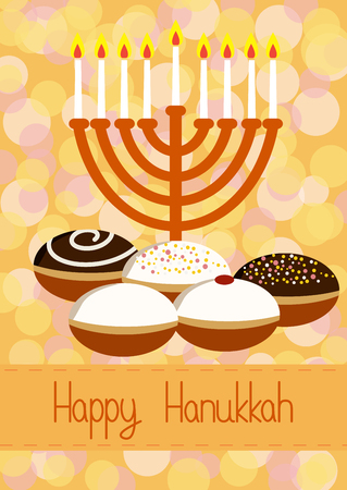 menora: Hanukkah Greeting card. Hanukkah menorah, candles and donuts. Design vector template for jewish holiday Hanukkah