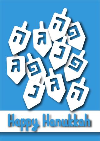 Hanukkah Greeting card. Hanukkah dreidels with Hebrew letters. Design vector template for jewish holiday Hanukkah Illustration
