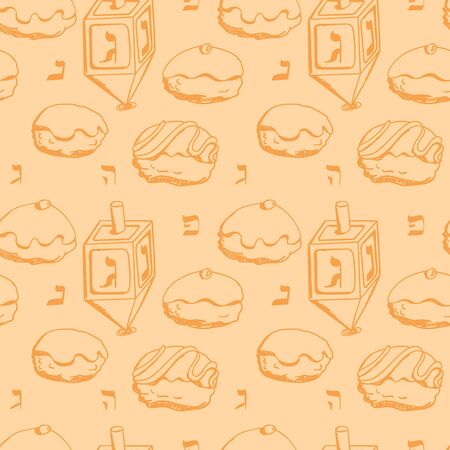 white sugar: Holiday Hanukkah vector background. Seamless pattern with dreidel and various donuts for jewish holiday Hanukkah. Hand drawn vector illustration