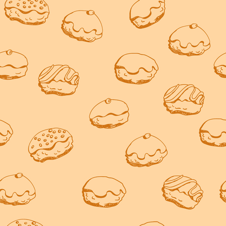 Holiday Hanukkah vector background. Seamless pattern with various donuts for jewish holiday Hanukkah. Hand drawn vector illustration