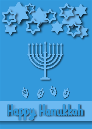 hebrew letters: Hanukkah Greeting card. Hanukkah menorah, candles, and dreidel with Hebrew letters.