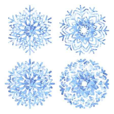 flocon de neige: Flocons de neige mod�le collections de style low poly. Illustration