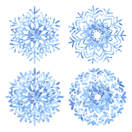 christmas objects: Snowflakes template collections low poly style.