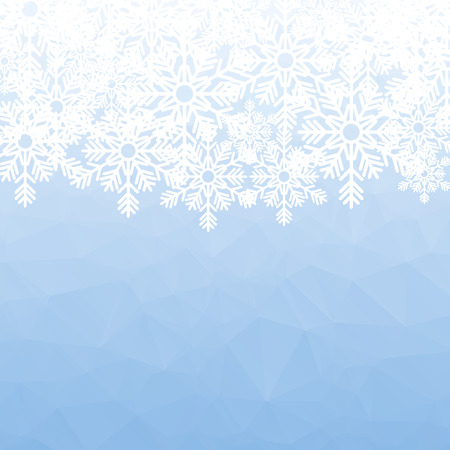 mosaic background: Christmas holiday background. White snowflakes on blue polygonal mosaic.