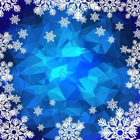 hoarfrost: Christmas holiday background. White snowflakes on blue polygonal mosaic.