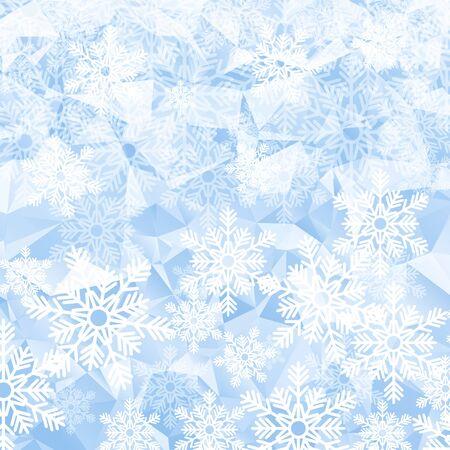 white bacground: Christmas holiday background. White snowflakes on blue polygonal mosaic.  Low poly style illustration