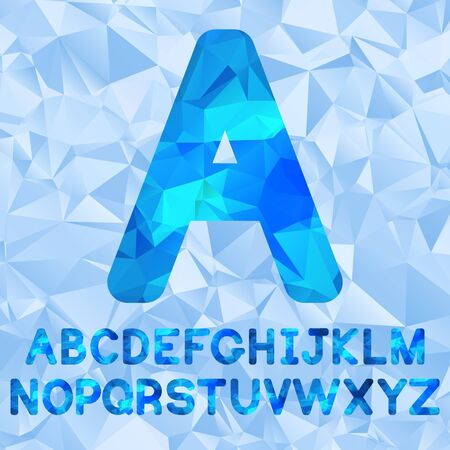 ice crystal: Polygonal alphabetSet of letters low poly style. Blue polygonal mosaic alphabet.