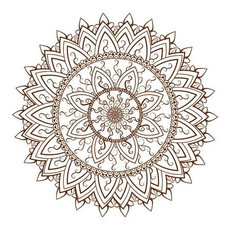 Round floral ornament pattern. Design element in  Indian Mehndi  stayle. illustration 向量圖像